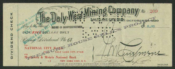 BANK_CHECK_-_NATIONAL_CITY_BANK_1920_-_DALY_WEST_MINING_CO_209_-_0000_THR__EMBOSS.jpg