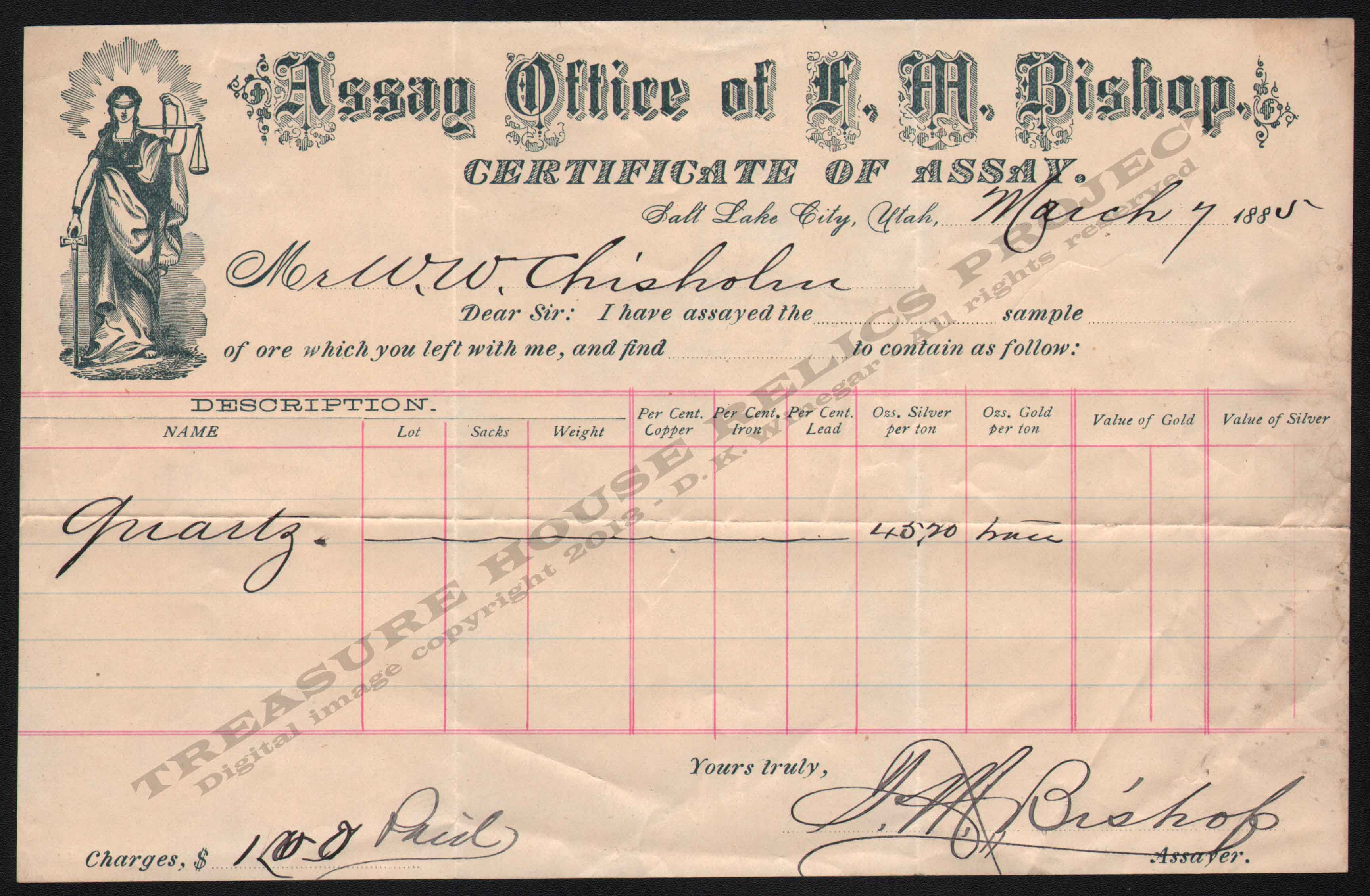 LETTERHEAD/ASSAY_BISHOP_F_M_1885_3_7_W_W_CHISHOLM_DSW_2012_400_CROP_EMBOSS.jpg