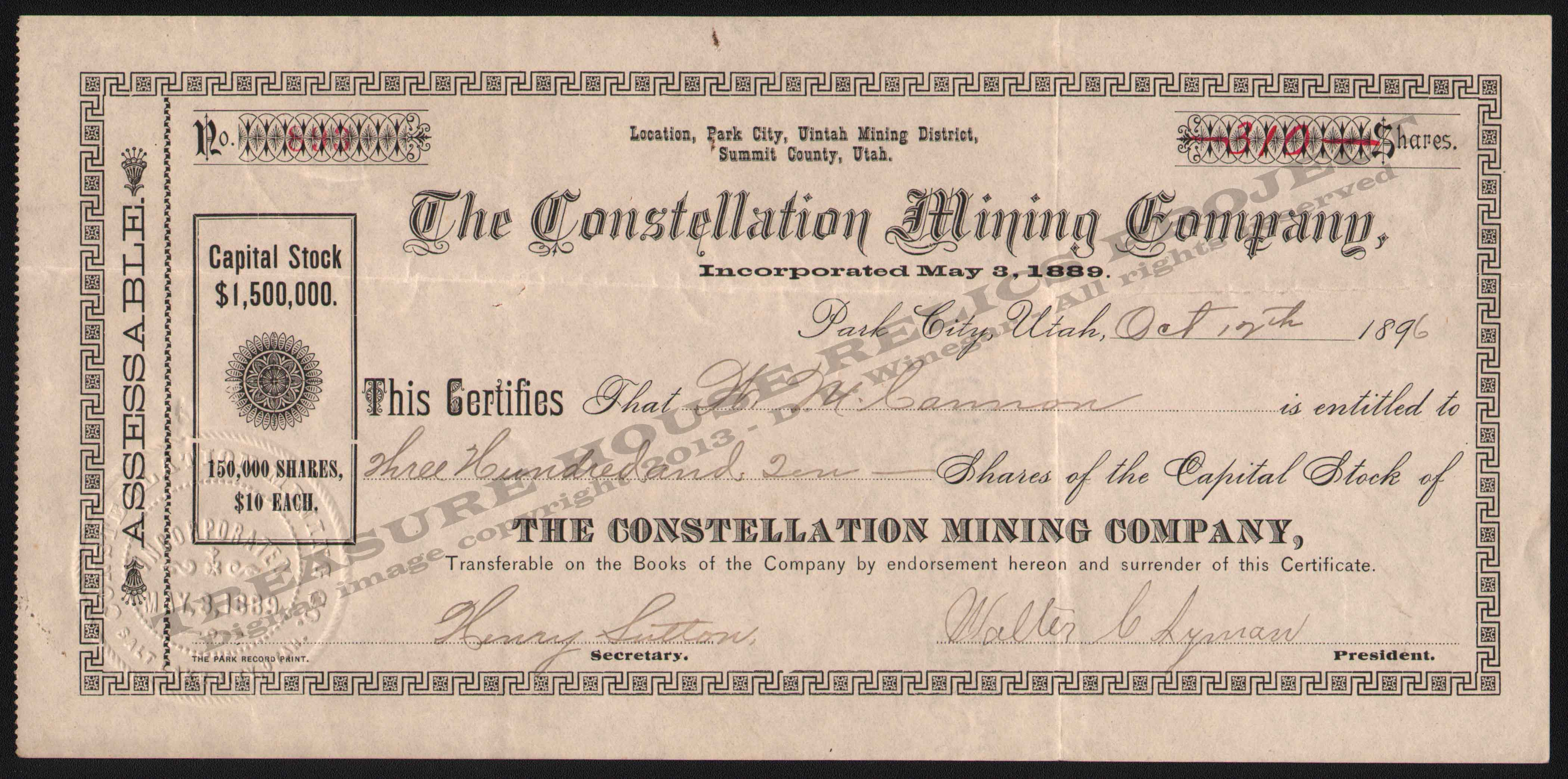 LETTERHEAD/STOCK_CONSTELLATION_MINING_COMPANY_PARK_CITY_UTAH_1896_10_27_DSW_323_400_CROP_EMBOSS.jpg